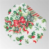 Holly and Ribbon Round Placemats Red/Green Set of Four