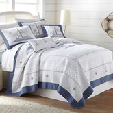 Yacht Club Embroidered Quilt Blue