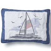 Yacht Club Embroidered Quilted Sham Blue