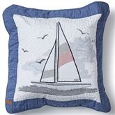 Yacht Club Embroidered Quilted Pillow Blue 15 Square
