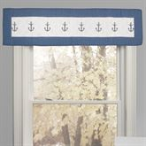 Yacht Club Embroidered Anchor Valance Blue 55 x 15