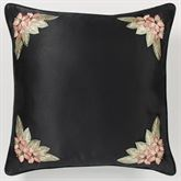 Barbados European Pillow with Embroidered Sham Black