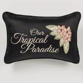 Barbados Embroidered Pillow Black Rectangle