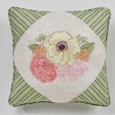 Veranda Embroidered Piped Pillow Linen 18 Square
