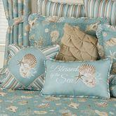 Seabreeze Embroidered Pillow Aqua 18 Square