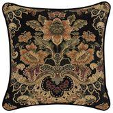 Toscano Jacobean Damask Pillow Black 20 Square