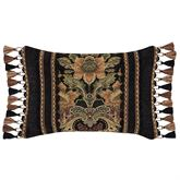 Toscano Tasseled Pillow Black Rectangle