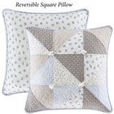 Paige Reversible Patchwork Pillow Blue 20 Square