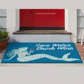 Save Water Drink Wine Mermaid Rectangle Mat Blue