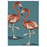 Raeni Flamingo Rectangle Rug Light Blue