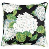 Hydrangea Onyx Floral Piped Pillow Black 17 Square