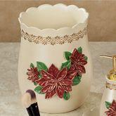Poinsettia Grace Wastebasket Light Cream