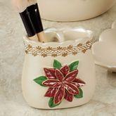 Poinsettia Grace Brush Holder Light Cream