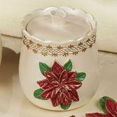 Poinsettia Grace Covered Jar Light Cream