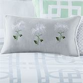 Garden Trellis Embroidered Piped Pillow Gray Rectangle
