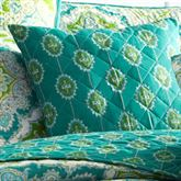 Zoie Quilted Pillow Turquoise 16 Square