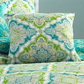 Zoie Quilted Pillow Turquoise 18 Square