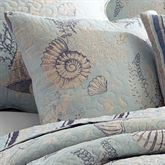 Pacifica Shell Quilted Pillow Pale Blue 18 Square