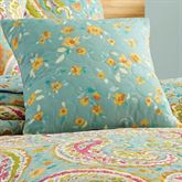Persnickety Quilted Pillow Aqua 16 Square