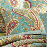 Persnickety Quilted Pillow Aqua 18 Square