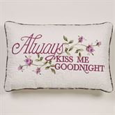 Ambrosia Kiss Goodnight Embroidered Pillow Violet Rectangle