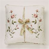 Honeysuckle Embroidered Pillow Buttercream 18 Square