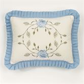 Vintage Charm Ruffled Pillow Dusty Blue Rectangle