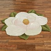 Carreen Magnolia Flower Shaped Rug Light Cream