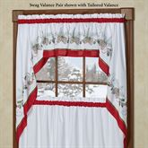 Holiday Garland Swag Valance Pair White 56 x 38