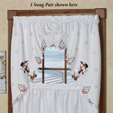 Wintertime Friends Swag Valance Pair White 58 x 36