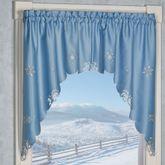 Glistening Snowfall Swag Valance Pair Cerulean Blue 58 x 36