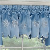 Glistening Snowfall Scalloped Valance Cerulean Blue 58 x 12