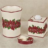 Poinsettia Charm Bath Accessory Set Champagne Three Piece Set