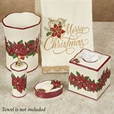 Poinsettia Charm Bath Accessory Set Champagne Four Piece Set