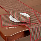 Holiday Nouveau Joyful Placemats Red Set of Four