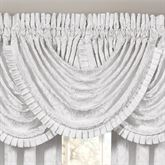 Astoria Damask Scroll Waterfall Valance Off White 42 x 33
