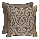 Astoria Scroll Damask Piped Pillow Coffee 18 Square