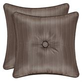 Astoria Striped Tufted Piped Pillow Coffee 16 Square