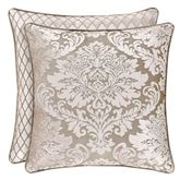 Bel Air Almond Reversible Damask Piped Pillow 18 Square