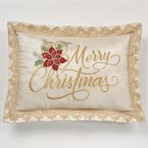 Poinsettia Palace Merry Christmas Pillow Champagne Rectangle