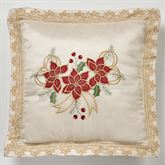 Poinsettia Palace Embroidered Pillow Champagne 18 Square