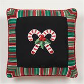 Peppermint Dreams Candy Cane Embroidered Pillow Black 18 Square
