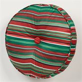 Peppermint Dreams Striped Tufted Pillow Red Round
