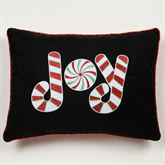 Peppermint Dreams JOY Embroidered Pillow Black Rectangle