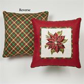 Holiday Traditions Poinsettia Embroidered Pillow Light Cream 18 Square