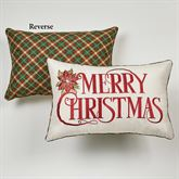 Holiday Traditions Merry Christmas Embroidered Pillow Light Cream Rectangle