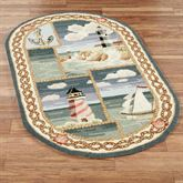Coastal Views Oval Rug Blue