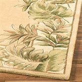 Tropical Leaves Border Rug Runner Beige