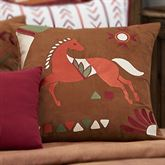 Solace Embroidered Horse Pillow Multi Warm 18 Square