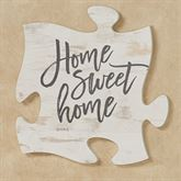 Home Sweet Home Quote Puzzle Piece Weathered White